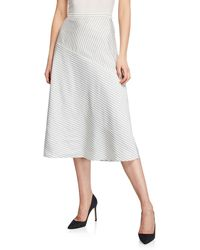 St. John Striped Diagonal-seam Twill Skirt - Multicolour