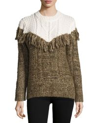 Thakoon - Two-tone Fringed Pullover Sweater - Lyst