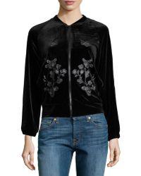 Hazel Embroidered-detail Velvet Bomber Jacket - Black