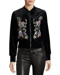Hazel Floral-embroidered Velvet Bomber Jacket - Black