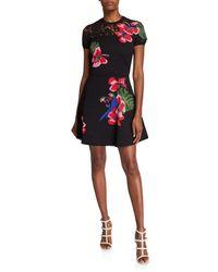 Valentino Tropical Dream Short-sleeve Knit Dress - Black
