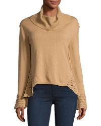 Nanette Nanette Lepore - Cowl-neck Crotchet-trim Sweater - Lyst