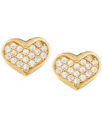 Tai - Golden Cz Heart Stud Earrings - Lyst