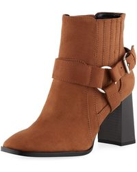BCBGeneration - Agnes Faux-suede Stacked-heel Booties - Lyst
