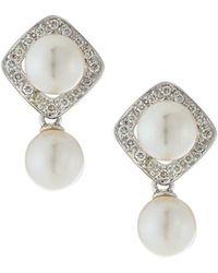 Belpearl - 14k White Gold Two-pearl & Diamond Drop Earrings - Lyst