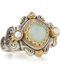 Konstantino - Sea Blue Agate & Pearl Ring - Lyst