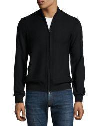 Patrick Assaraf Mock-neck Front-zip Sweater - Black