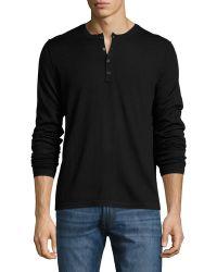 Patrick Assaraf Double-collar Wool Henley Sweater - Black