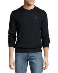 Patrick Assaraf - Chest-pocket Crewneck Pullover Sweater - Lyst
