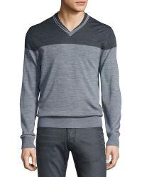 Patrick Assaraf Rolled Double-collar Pullover Sweater - Gray