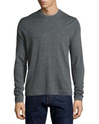Patrick Assaraf - Double-collar Crewneck Long-sleeve Pullover Sweater - Lyst
