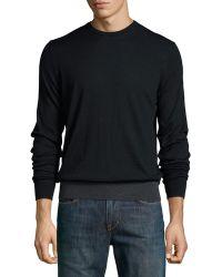 Patrick Assaraf Contrast-trim Long-sleeve Pullover Sweater - Black