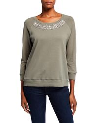 Nicole Miller Embellished French Terry Sweater - Green