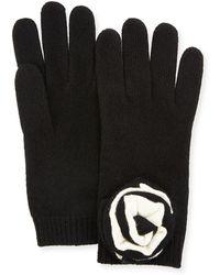 Portolano - Knit Floral Applique Gloves - Lyst