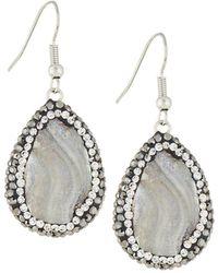 Panacea Grey Crystal Teardrop Earrings - Gray