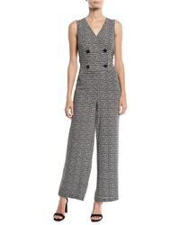 Max Studio - Double-breasted Sleeveless Knit Jumpsuit - Lyst