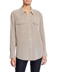 Equipment Slim Signature Silk Long Sleeve Shirt - Multicolor