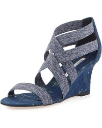 Manolo Blahnik Glassa Strappy Cork Wedge Sandal - Blue
