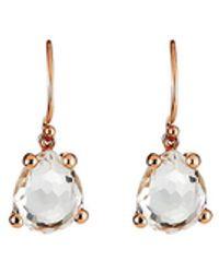Ippolita Rose Single Pear Earrings In Clear Quartz - Multicolour