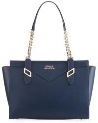 Versace - Saffiano Leather Chain Shoulder Bag - Lyst
