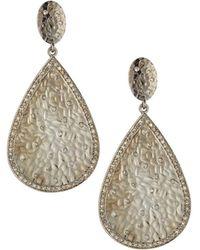 Bavna - Textured Diamond Teardrop Earrings - Lyst