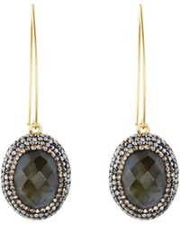 Native Gem Ilume Labradorite & Crystal V-hook Drop Earrings - Gray
