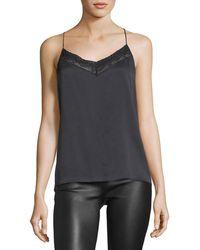 Robert Rodriguez V-neck Crossover-back Silk Top W/ Lace Trim - Black