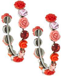 DANNIJO Wonder Rose & Crystal Hoop Earrings Pink