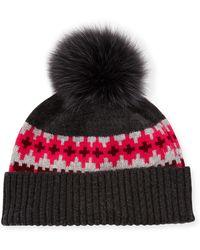 Sofia Cashmere - Fair Isle Cashmere Fur-pom Beanie Hat - Lyst