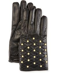 Imoni - Studded Quilted Leather Gloves - Lyst