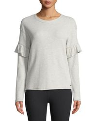 Marc New York   Ruffle-sleeve Striped Thermal Tee   Lyst