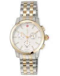 Michele Uptown 39mm Two-tone Bracelet Watch With Diamonds - Metallic