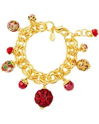Jose & Maria Barrera - Cinnabar Beaded Charm Bracelet - Lyst