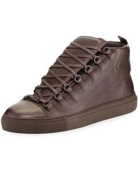 d0f011ebeedf Balenciaga - Men s Arena Leather High-top Sneakers - Lyst