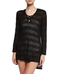 Luxe by Lisa Vogel - Afterglow Striped Hoodie Coverup Tunic - Lyst