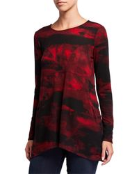 Joan Vass Printed High-low Button Back Tunic - Red
