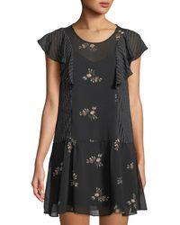 BCBGeneration - Ruffled Floral Illusion Dress - Lyst