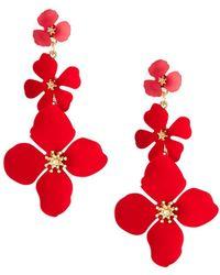 Fragments - Linear Flower Drop Earrings - Lyst