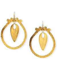 Devon Leigh - Hammered Hoop Drop Earrings - Lyst
