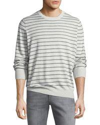 Brunello Cucinelli - Men's Cannes-striped Crewneck Sweater - Lyst
