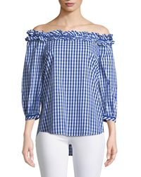 Neiman Marcus - Off-the-shoulder Gingham Blouse - Lyst