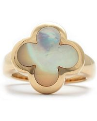 Van Cleef & Arpels - Estate 18k Yellow Gold Mother-of-pearl Alhambra Pure Ring Size 5.25 - Lyst