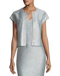 St. John - Gleam Metallic Knit Short-sleeve Jacket - Lyst