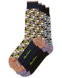Robert Graham | Two-pack Square-stripe Pattern Socks | Lyst