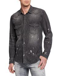 Purple Distressed Denim Sport Shirt - Black