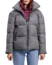 The Very Warm Alma Wool Plaid Puffer Coat W/ Artwork Lining - Multicolor