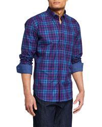 Bugatchi Men's Shaped-fit Plaid Sport Shirt With Button-down Collar - Purple