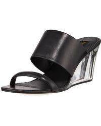 Donna Karan - Gaby Leather Wedge Sandals - Lyst