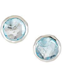 Ippolita Sterling Silver Rock Candy Stud Earrings In Blue Topaz