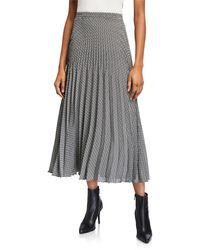 Max Studio Pleated Polka Dot Print Midi Skirt - Black